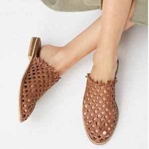 NWOB Free People Leather Woven Mule